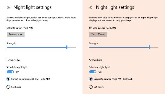 Tính năng Night Light lọc ánh sáng xanh trên window 10
