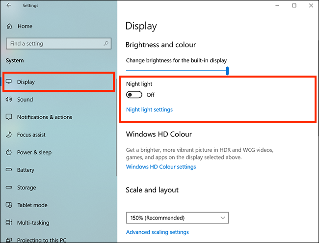 Mở tính năng Night Light trên Windows 10