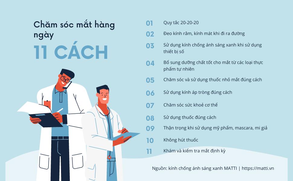 infographic 11 cách chăm sóc mắt hàng ngày